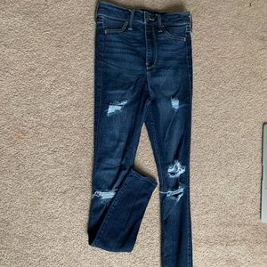 ripped dark wash 00R skinny high waisted jeans